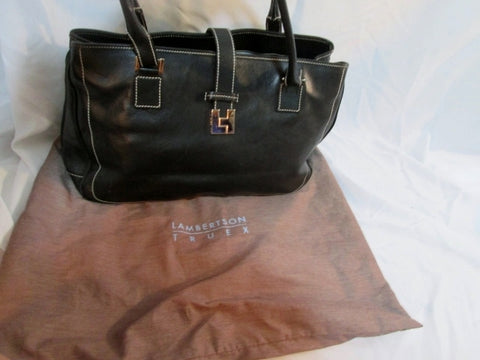 LAMBERTSON TRUEX Leather Tote Shopper Carryall w Dustbag BLACK