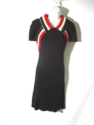 BALENCIAGA PARIS WOOL Sleeveless Knit dress 38 / 6 BLACK RED WHITE