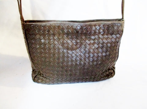 Handmade COSCI ITALY leather woven shoulder purse crossbody shoulder bag BROWN bag M