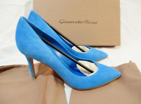 NEW Womens GIANVITO ROSSI Suede High Heel Pump Shoe BLUE 36 6 LEATHER Slide