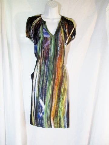 NEW ZERO MARIA CORNEJO SILK Shift Dress 10 STRIPE Black MULTI-COLOR