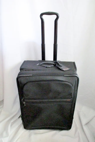 "25"" TUMI 22024D4 ALPHA SHORT TRIP SUITCASE Travel Bag Carry-On BLACK Rolling BALLISTIC Weekender"