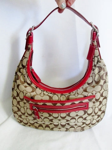 COACH 6070 Signature ZOE HOBO Hobo Handbag Satchel KHAKI RED Leather