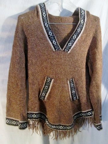 Womens KNIT Ethnic Nordic Knit Sweater S BROWN Hippie Boho Ski Holiday Top