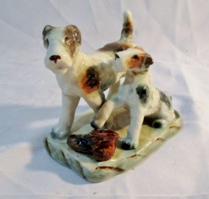 Vintage Antique AIREDALE TERRIER DOG Ceramic Figurine Porcelain JAPAN Statue
