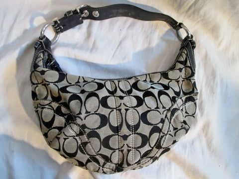 COACH 10073 Signature C Jacquard Hobo Handbag Satchel Canvas BLACK Leather
