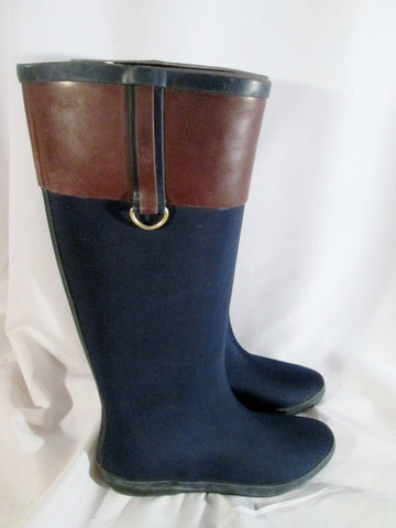 Womens HENRY FERRERA SALUTE Wellies Rain Boots Rainboots Foul Weather 7 BLUE