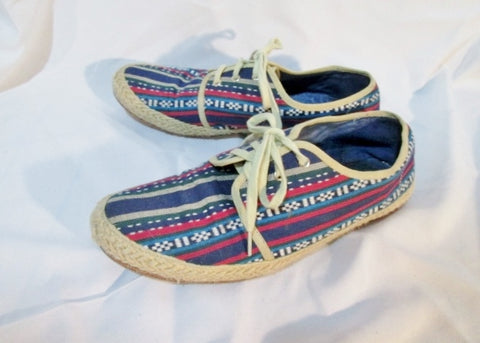 Womens DOLCE VITA Espadrille Tennis Shoe Sneaker Striped 8 BLUE TAN Summer