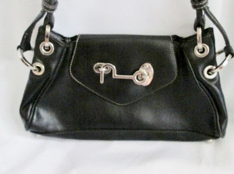 BUTTERFLY Leather Hobo Bag satchel BLACK Industrial Punk Goth purse LATCH SILVER