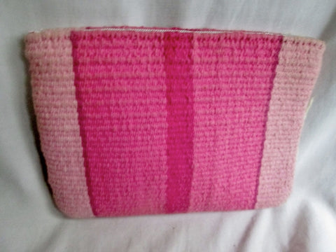 ALTOS DE CHAVON Wool Serape Ethnic Kilim Pencil Case Pouch Bag Coin Purse PINK