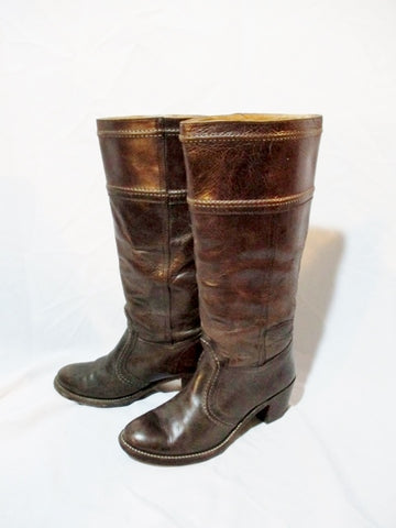Womens FRYE Leather JANE STITCHING Western Cowboy Boots 8 BROWN