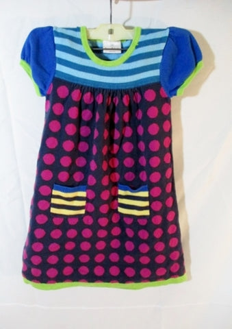 Girls HANNA ANDERSSON Dress Knit Dress Colorful 120 / 6X-7 Polka Dot Stripe