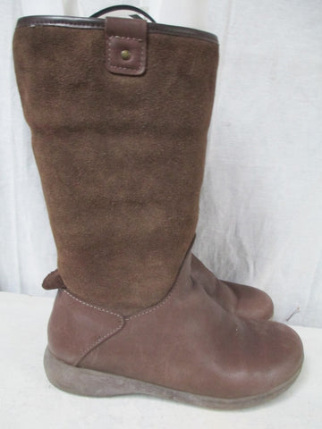 Womens EASY SPIRIT WELSIE Suede LEATHER Winter BOOTS Shoes BROWN 7.5 Lined