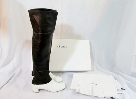 NEW Womens CELINE PARIS Leather Thigh High Boot 40 ITALY 36 6 BLACK WHITE