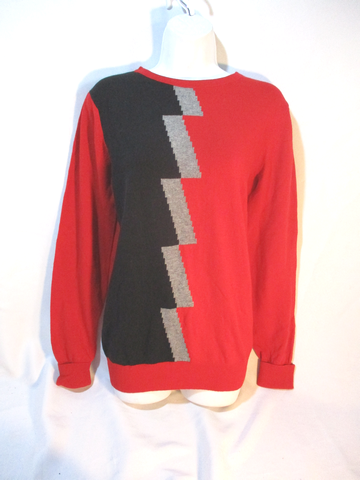 NWT NEW BALENCIAGA PARIS GEOMETRIC LIGHTNING CASHMERE Sweater RED 36 S