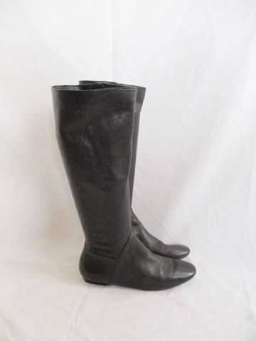 I. MILLER Glove Soft Leather Knee High Boot BLACK 7.5 Womens Flat Heel
