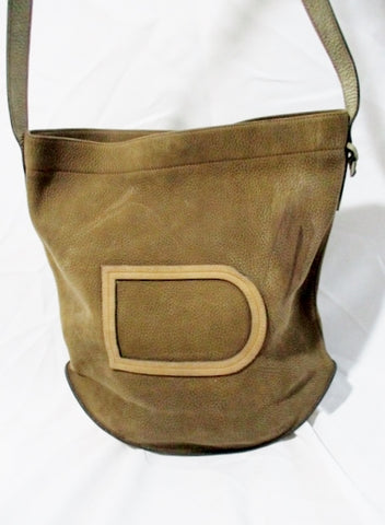 "DELVAUX BRUXELLES Suede ""D"" MODELE DEPOSE bag purse BROWN bucket Leather"