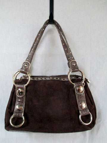 KATHY VAN ZEELAND Vegan Suede Tote Bag Satchel Clutch Purse BROWN STUD
