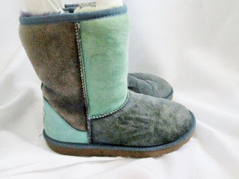 Youth Kids Girls UGG AUSTRALIA 3151 CLASSIC PATCHWORK Short Suede BOOTS 5