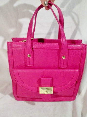 OLIVIA + JOY Vegan Faux Leather TOTE satchel shoulder bag BERRY PINK box purse