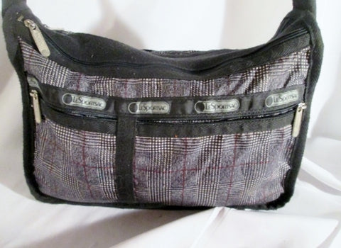 Le Sport Sac LESPORTSAC Nylon shoulder travel bag purse crossbody BLACK PLAID