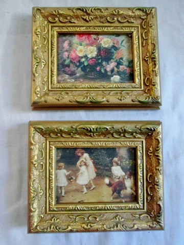 Vintage Set 2 Lot Gilt Frame Child Girl Floral Portrait Picture Print ART Nouveau Rococo Deco