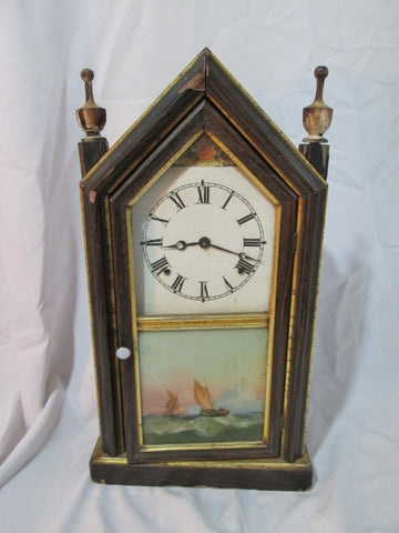 Antique 1820s HOLLAWAY CO.  LONDON Hand Painted Wood STEEPLE CLOCK Shelf Mantel