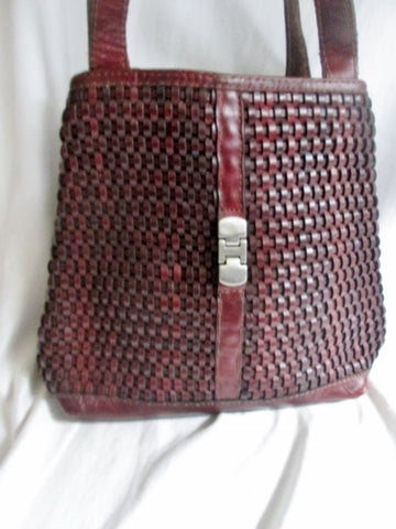 SANA PIEL Woven Leather Mexico Sling Satchel Shoulder Tote Bucket Bag BROWN