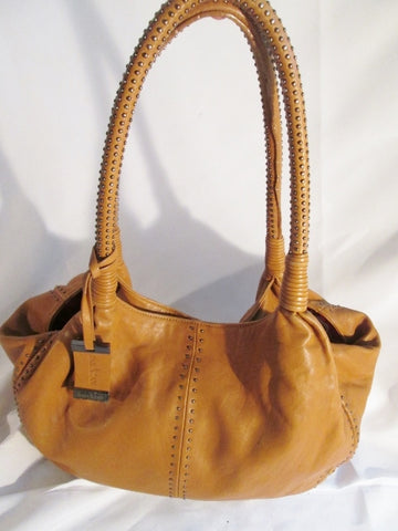DAN AZAN Leather Shoulder Bag Satchel Purse Hobo Sling Carryall BROWN Stud Boho