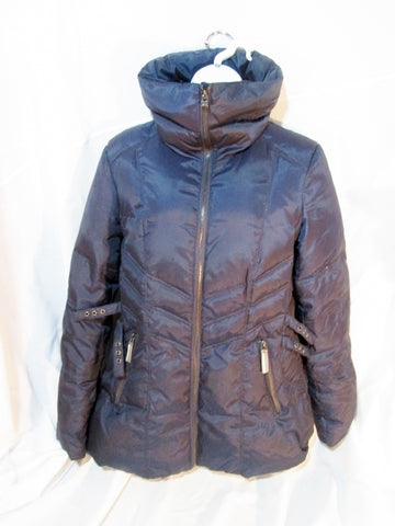 Womens ANDREW MARC DOWN JACKET Coat Parka Puffer NAVY BLUE M Quilted