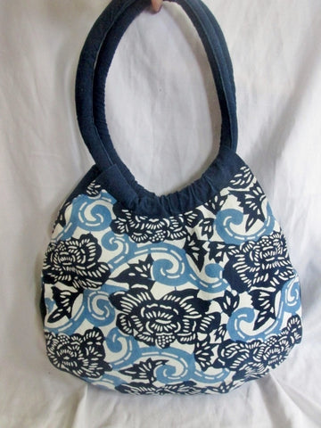 NANKEEN INDIGO Festival Loop Hoop Handle Vegan Ethnic Bag BLUE FLORAL Tote