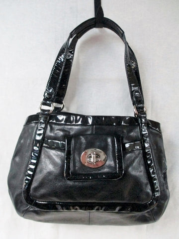 COACH 13601 CRICKET Patent Leather Satchel Purse Shoulder bag Hobo BLACK Carryall
