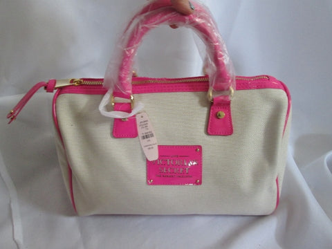 NEW VICTORIA'S SECRET LOVE SEXIEST Duffle Satchel VEGAN PINK TAN Bag Bowler Clutch