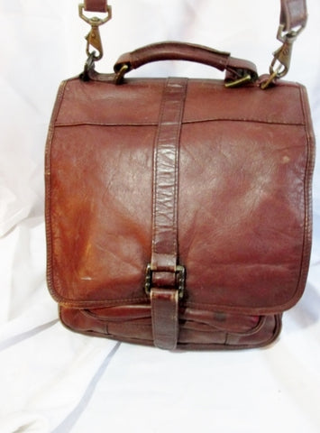 COLOMBIA LEATHER Oblong Shoulder Flap Bag  BROWN Man Purse Case