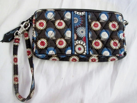 VERA BRADLEY Wristlet Clutch Organizer Wallet Zip Purse NIGHT OWL Cute Vegan