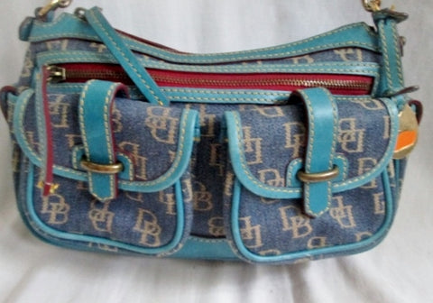 DOONEY & BOURKE MEDIUM SADDLE Denim Satchel Hobo Shoulder Bag BLUE Boho