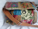 FOSSIL leather cloth messenger satchel shoulder flap crossbody saddle bag PATCHWORK