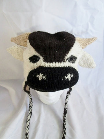 Womens Youth Knit COW BULL Flap HAT Cap Beanie BROWN WHITE Adorable!