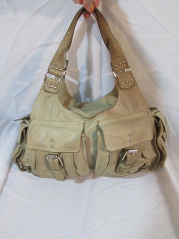 TANO HANDBAGS Leather TOTE Purse Saddle Bag Satchel Purse BEIGE Duffel Boho