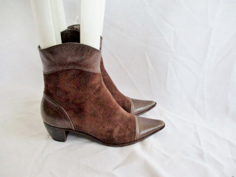 ARTURO CHIANG TRUMAN Suede Leather Bootie Ankle Boot BROWN 8 Heel Womens
