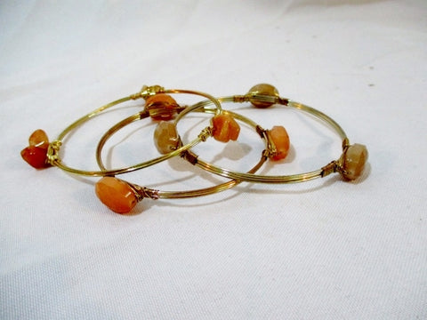 Set 3 Wire Bracelet Bangle Arm Band GOLD Stone AMBER BEIGE NATURAL