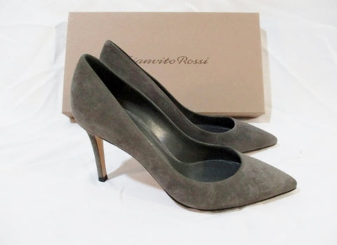 NEW Womens GIANVITO ROSSI Suede High Heel Pump Shoe GREY 36 6 LEATHER Slide