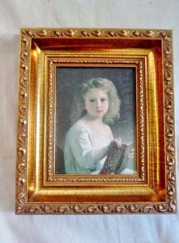 Vintage Antique PAINTED PRINT Gilt Frame Child Girl Portrait Picture ART Nouveau Rococo Deco