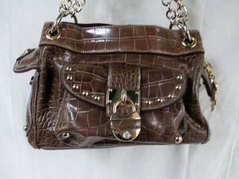 KATHY VAN ZEELAND Vegan Suede Tote Bag Satchel Clutch Purse BROWN CROC