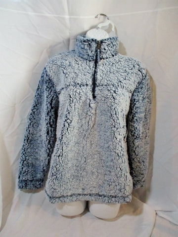 NEW Womens BOXERCRAFT Unisex Sherpa Quarter-Zip Pullover JACKET S BLUE Coat NWT