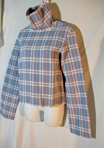 NEW NWT CELINE HONG KONG CARRIAGE BAG PLAID Turtleneck Top S BLUE WHITE RED