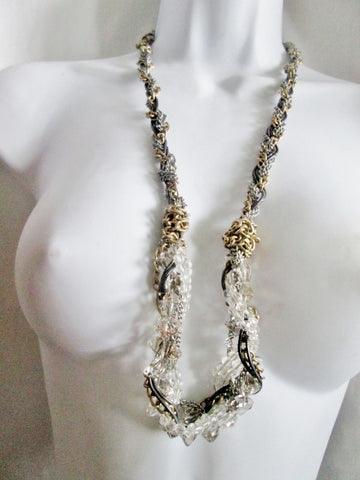 ANN TAYLOR LOFT CHAINLINK Woven Strand Necklace Statement SILVER Brass Glass Bead