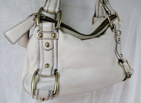 BANANA REPUBLIC leather satchel shoulder bag tote clutch CHALK WHITE M L
