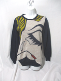 3.1 PHILIP LIM Wool POP ART EYEBALL Sweater Top Shirt S Multi Pullover Italy
