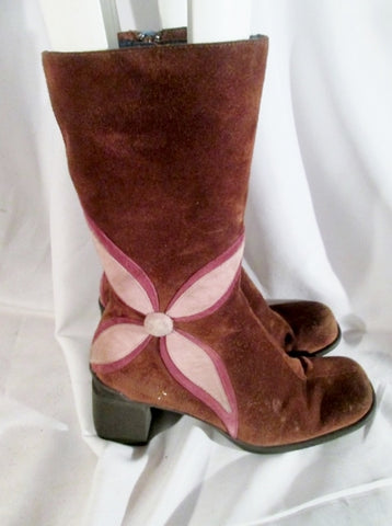 Womens INDIGO FLORAL Suede Boots BROWN PINK 6.5 Hippie Boho Hipster Gogo